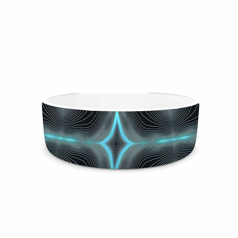 KESS InHouse Pia Schneider Niagara Line Vibes bluee Black Digital Pet Bowl, 7  Diameter