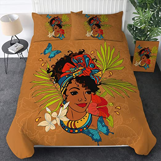 1 Duvet Cover and 2 Pillow Shams Sleepwish African Bedding Set Queen for Girls Black Girl Bed Set 3 Piece Orange Ethnic Bedspread Ethnic Bed Covers