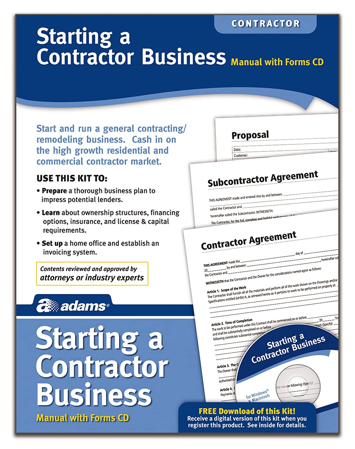 Amazon.com : Adams Starting A Contractor Business Kit, Includes Forms CD  and Instructions (PK216) : Legal Forms : Office Products