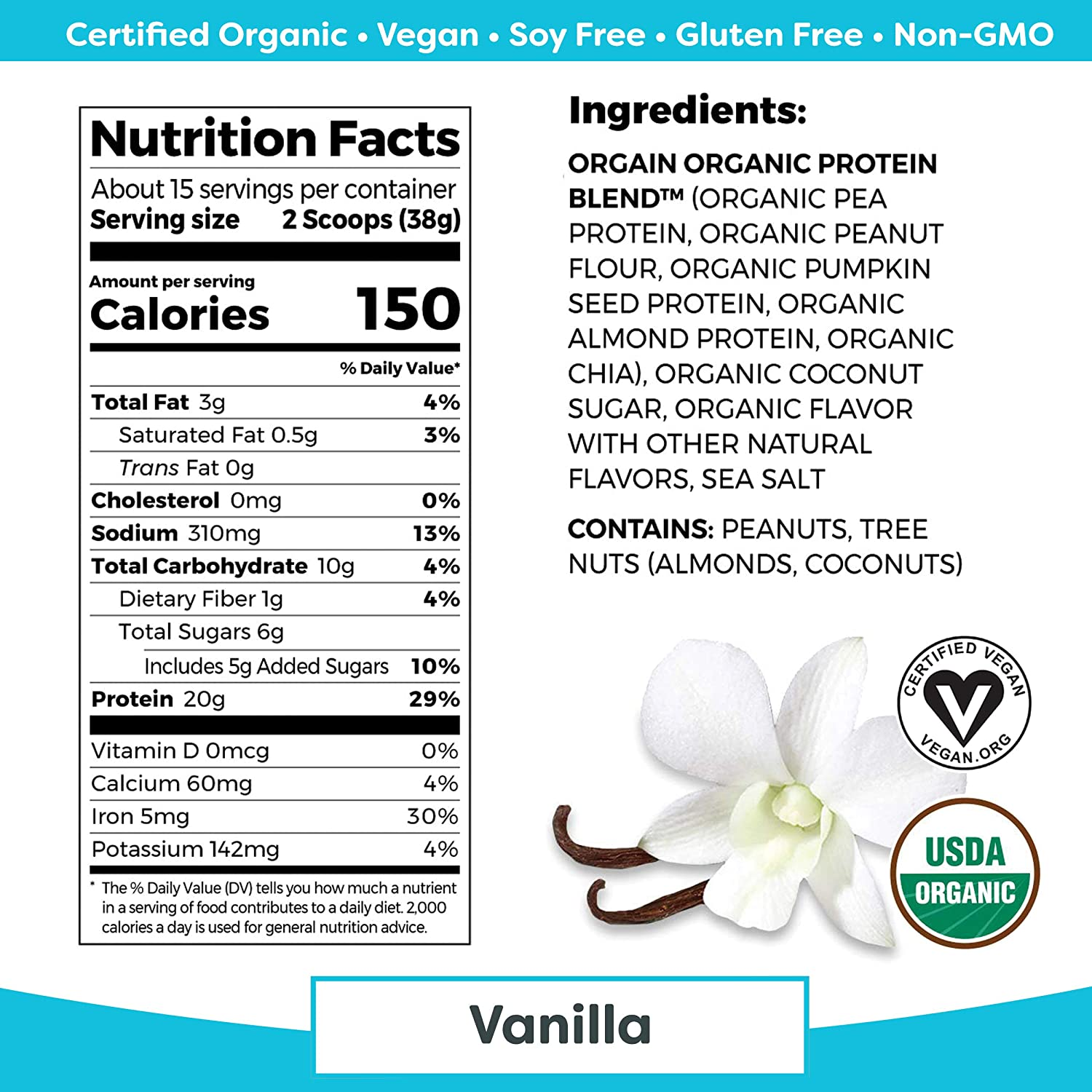 Orgain Simple Organic Plant Protein Powder, Vanilla - 20g Protein, Vegan, Dairy and Gluten Free, Stevia Free, Made with Fewer Ingredients, Kosher, Non-GMO, 1.25 Pound: Grocery & Gourmet Food