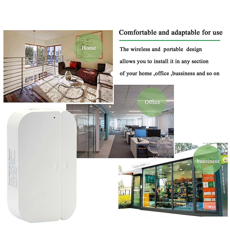 THINKELS-TECH Puerta WiFi y sensores de ventana Imanes Timbre de puerta de seguridad Alarma de campana abierta Aplicación de teléfono inteligente ...