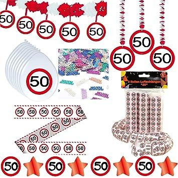 Deko Set 42 Tlg 50 Geburtstag Party Box Dekoration Glitter Girlande