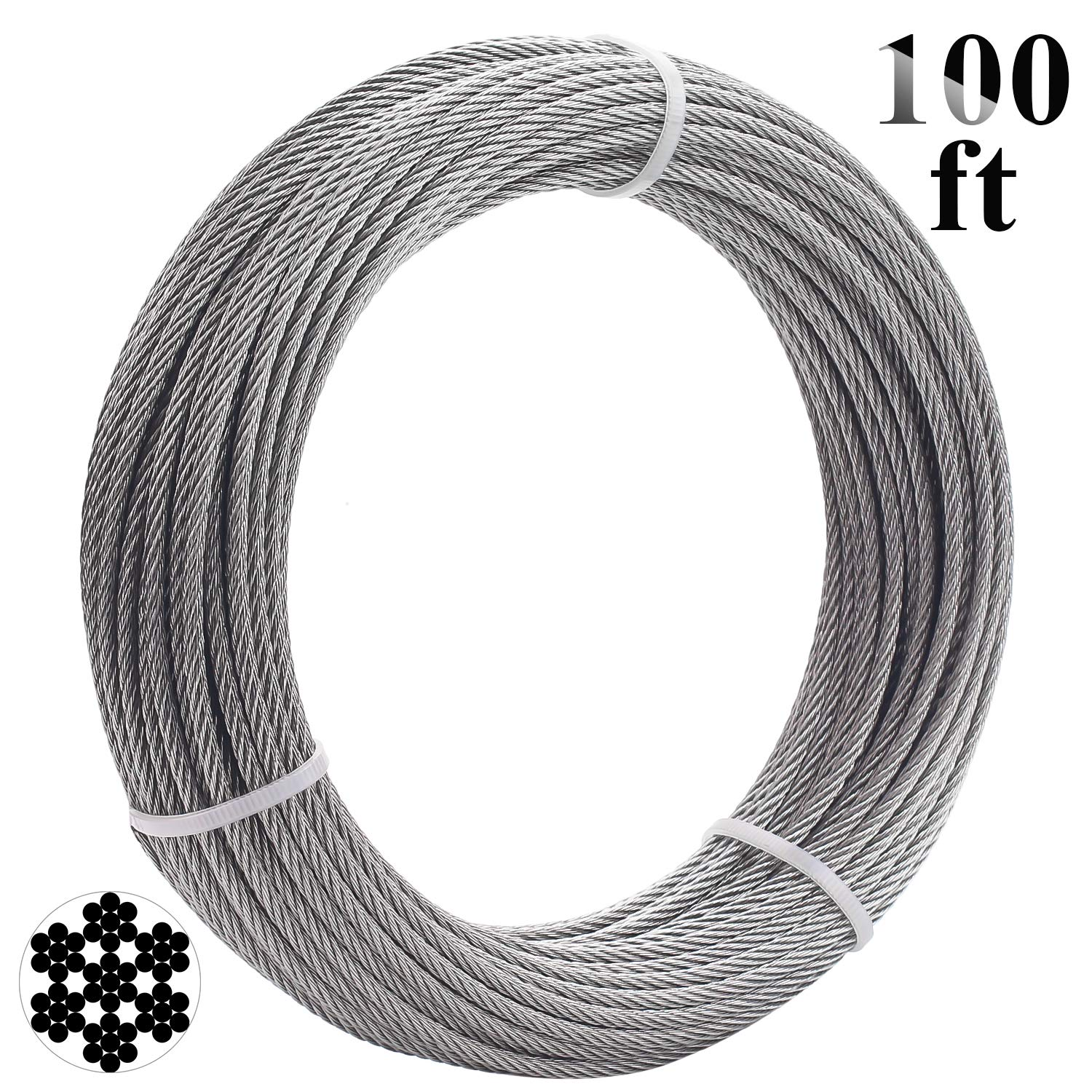 Favordrory 1/8 Inch T316 Marin Grade Stainless Steel Aircraft Wire Rope Cable for Railing, Decking, DIY Balustrade, 7x7 Construction, 100 Feet by Favordrory