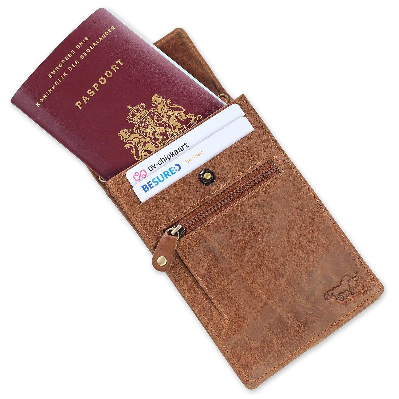 Prenez votre Mobile 100/% Cuir Avec RFID Protection Pochette de Cou pour Voyage et Passeport avec Vous Iphone 6 ou 6+