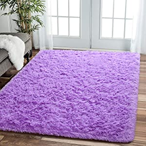 Comeet Soft Living Room Area Rugs for Bedroom Fluffy Rugs for Kids Room, Floor Modern Indoor Shaggy Plush Carpets, Home Decor Fuzzy Comfy Nursery Baby Boys Abstract Accent, Purple Shag Rug 4x5.9 Feet