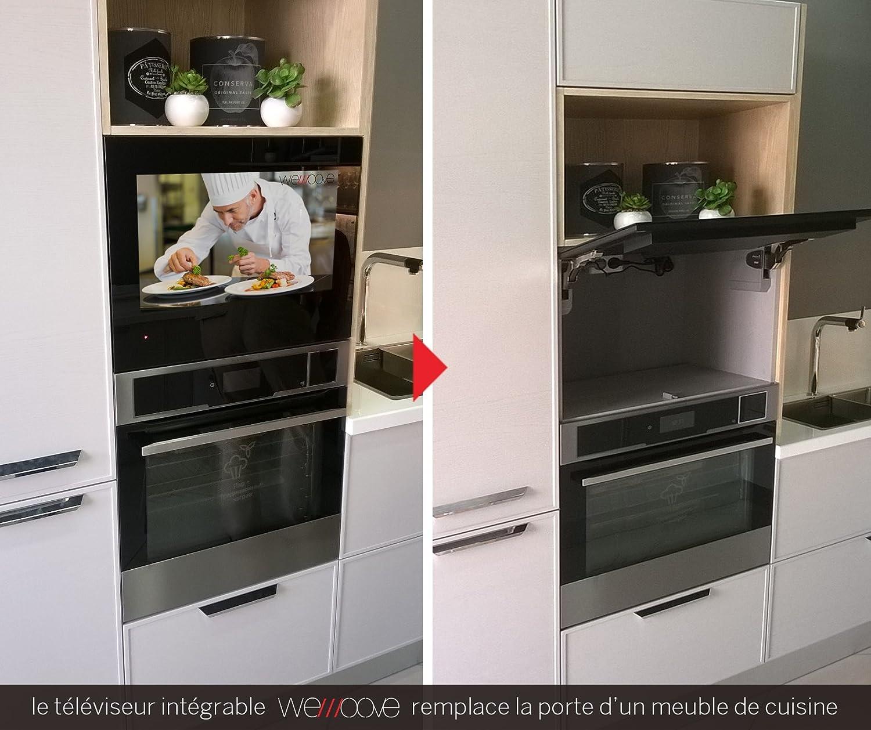 TV encastrable HEVC cocina impermeable marco negro 60 cm (23.8 ...