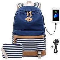 Netchain Mochila Escolares Mujer Mochila de Lona Casual Backpack Laptop Mochila para Ordenador Portátil 15.6 Pulgadas, USB Charging Port