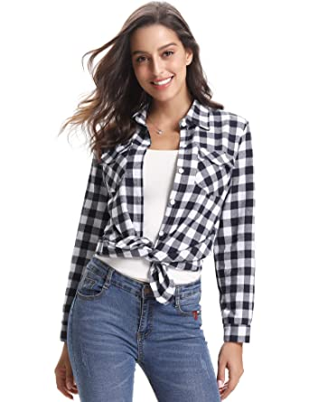 09abb4254 Abollria Womens Casual Long Sleeve Boyfriend Plaid Button Down Flannel  Check Shirt Blouse Tops: Amazon.co.uk: Clothing
