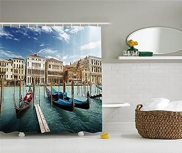 Italian Historic Decor Shower CurtaIn Set By Ambesonne Gondolas Venetian Adriatic Lagoon Venezia Photo