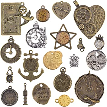 Jewelry Making DIY Crafts Steampunk Pendants Gears 20pcs Mixed Antiqued Bronze Charms Clock Face Charm Pendant