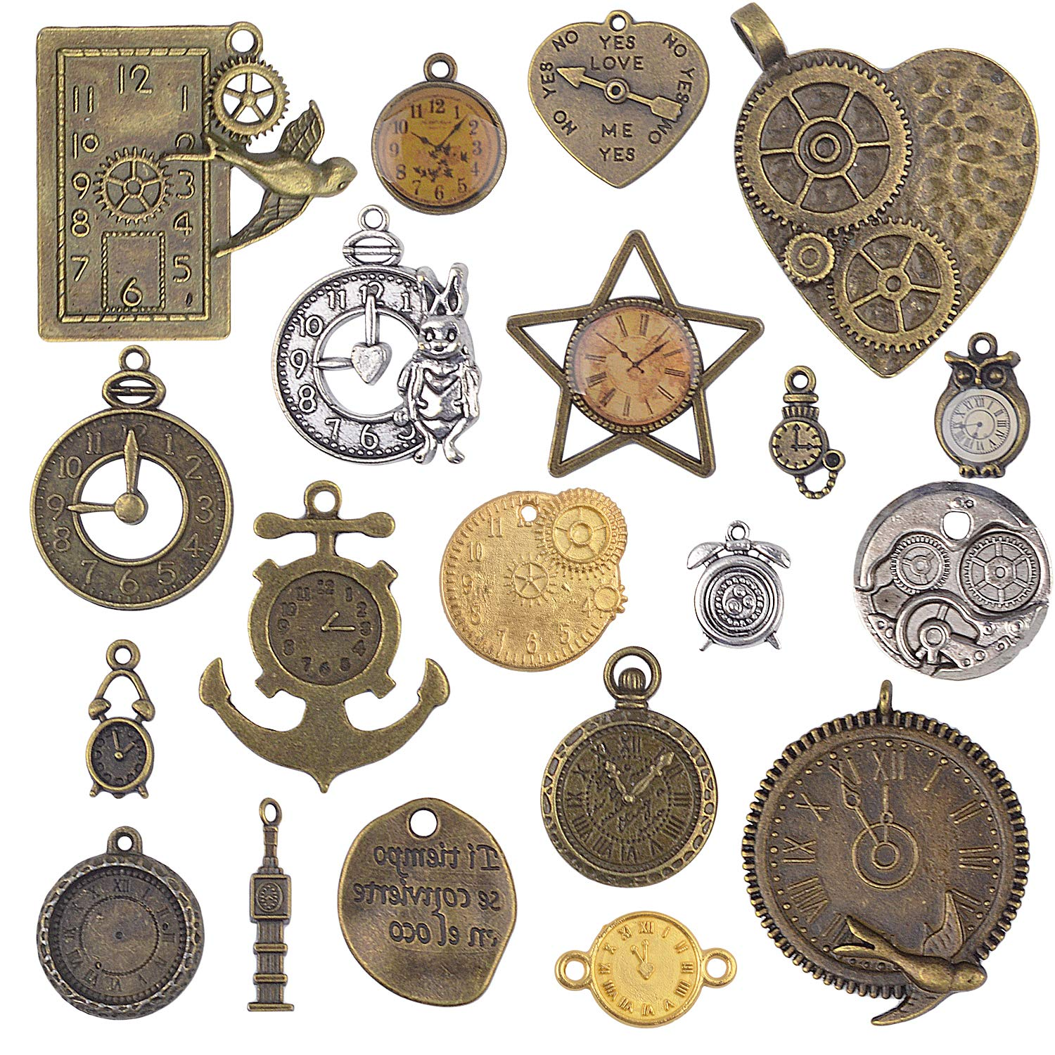 BronaGrand 20pcs Mixed Antiqued Charms Clock Face Charm Pendant, DIY Crafts, Gears, Jewelry Making, Steampunk Pendants,3 Colors