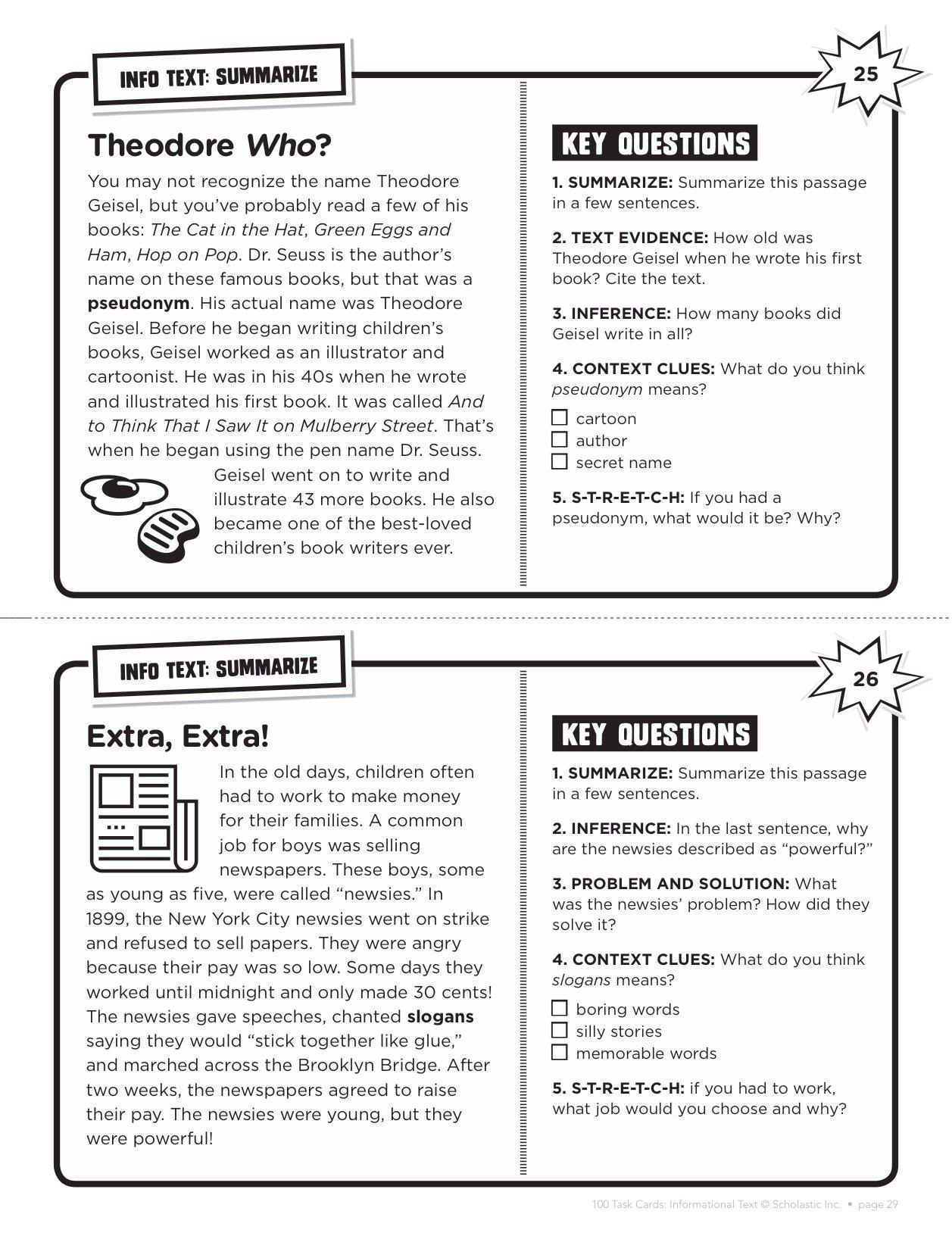 Amazon com: 100 Task Cards: Informational Text: Reproducible