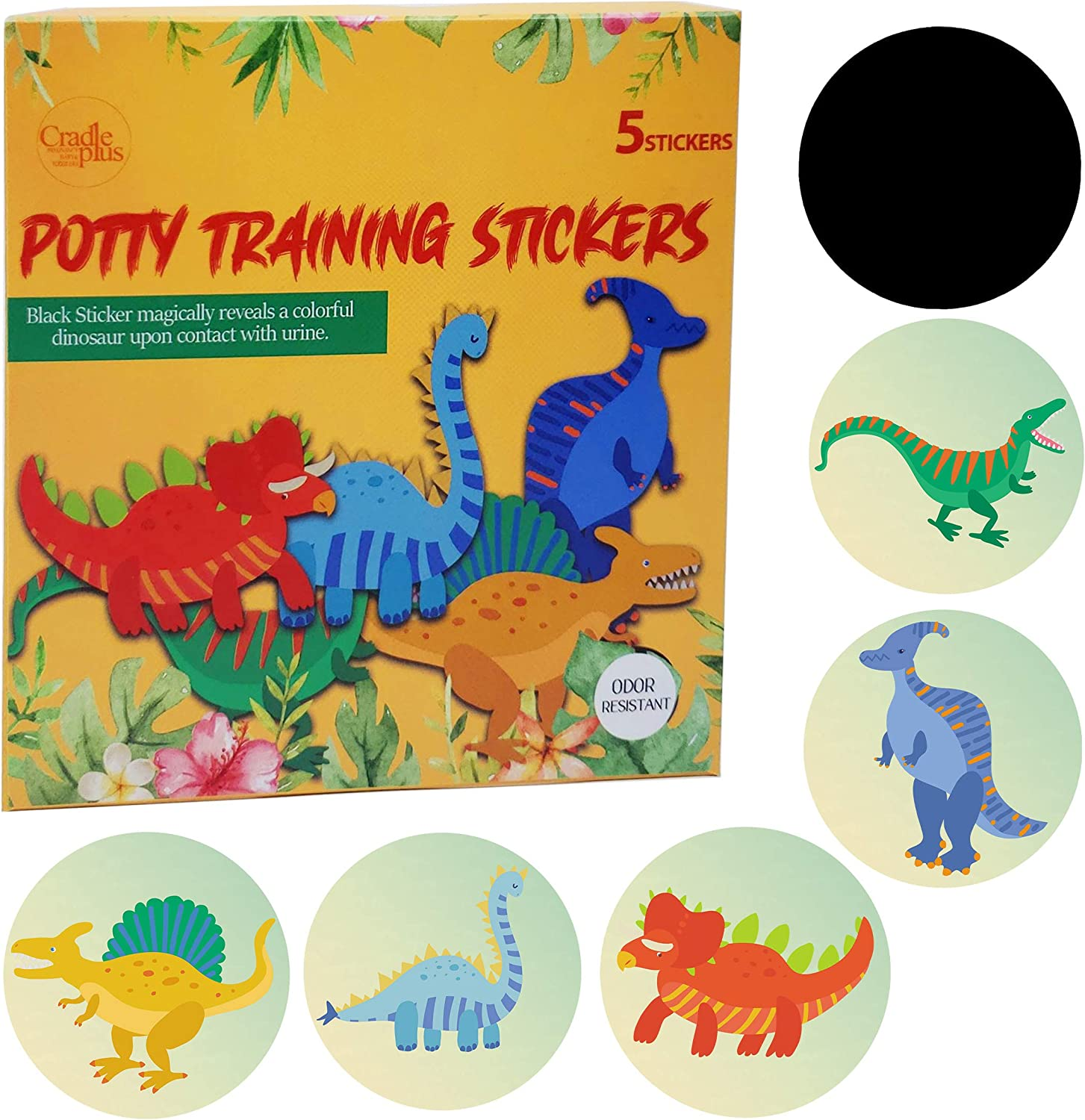 Potty Training Seat Magic Sticker Use with or without potty training Charts Potty training toilet color changing sticker 5 pack Dinosaur Stickers