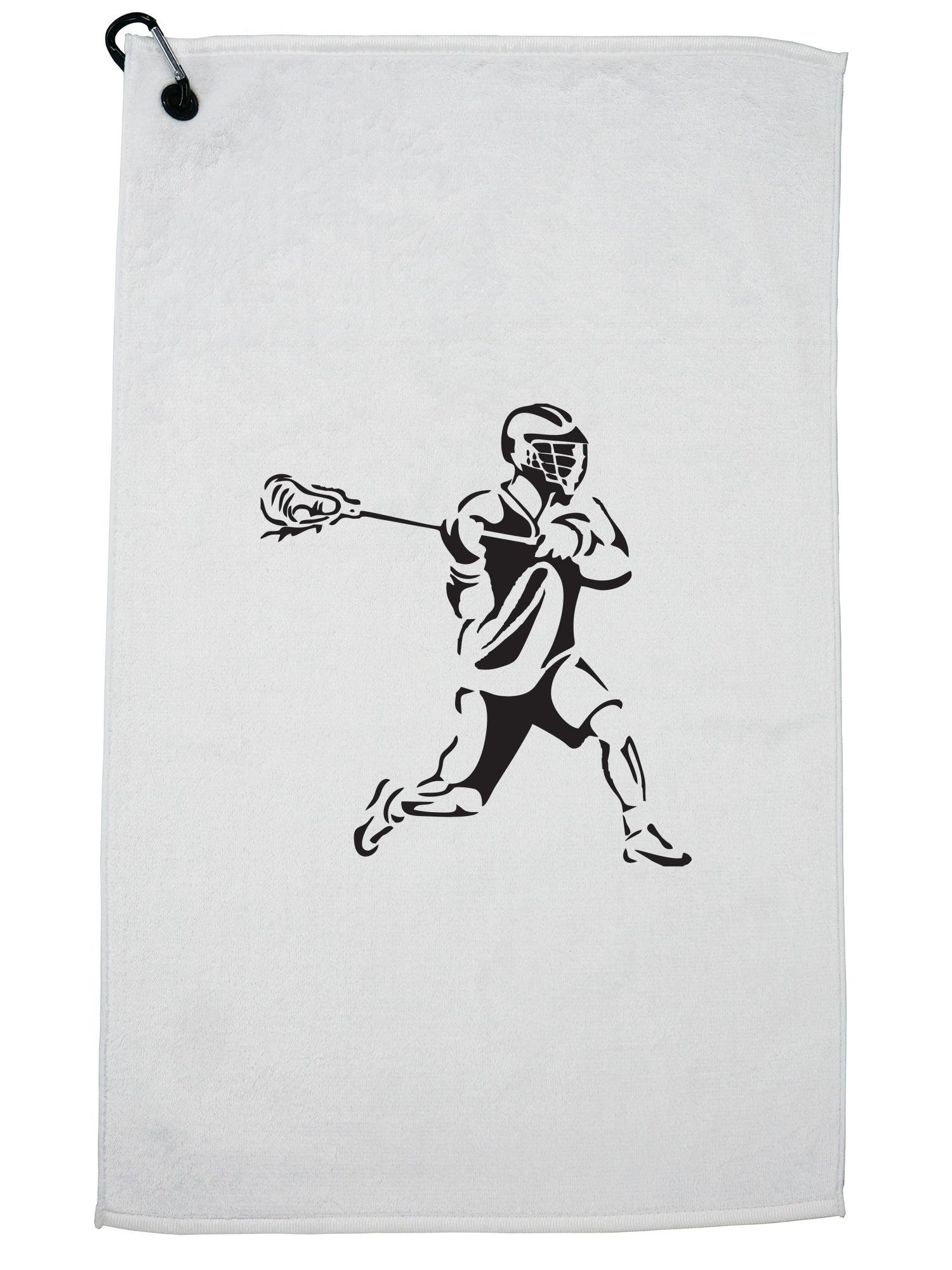Hollywood Thread Lacrosse Stencil Player Silhouette Running With Ball Golf Towel with Carabiner Clip