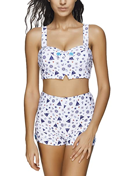 c5453cf794 BOZEVON 2 Pieces Women s Elastic Bikini Sets