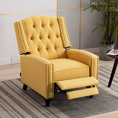 Artechworks Tufted Fabric Pushback Manual Recliner Chair