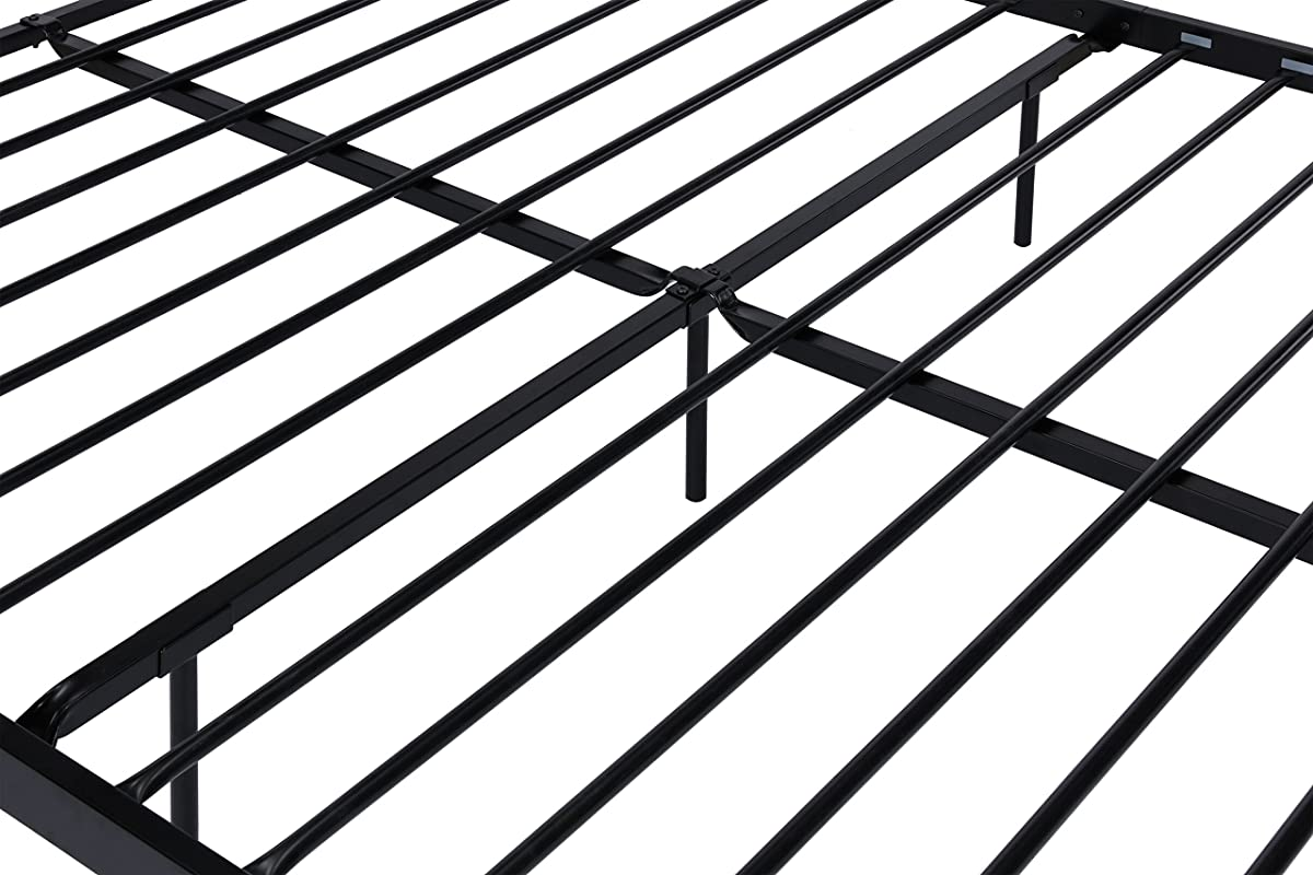 Wallace Metal Bed Frame in Black with Vintage Headboard and Footboard, No Box Spring Required, Sturdy Metal Frame with Slats, Weight Limit 500 lbs, Queen Size