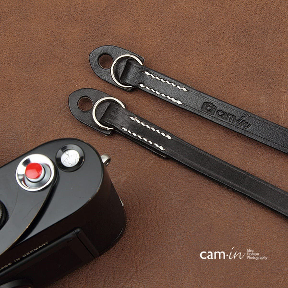 CS214 Cam-In Real Leather Shoulder Neck Camera Strap for Leica//Nikon//Sony//Fujifilm Black Color