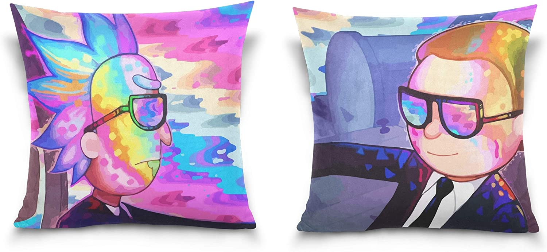 "TEVRSTA Rick Morty Throw Pillow Covers Soft Plush Square Pillowcase Set of 2 Decorative Cushion Cover for Sofa Bedroom Car (18"" x 18"" 45cm x 45cm)"