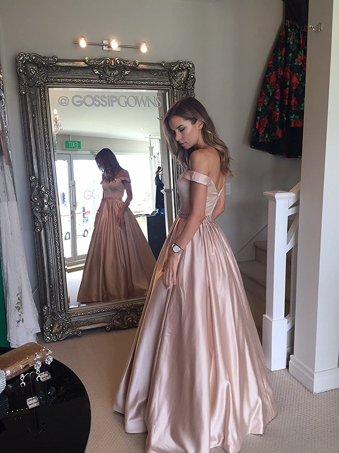 LCRS Womens Off The Shoulder Satin Prom Dresses Pockets Long A-Line Evening Party Ball Gowns Formal ON139