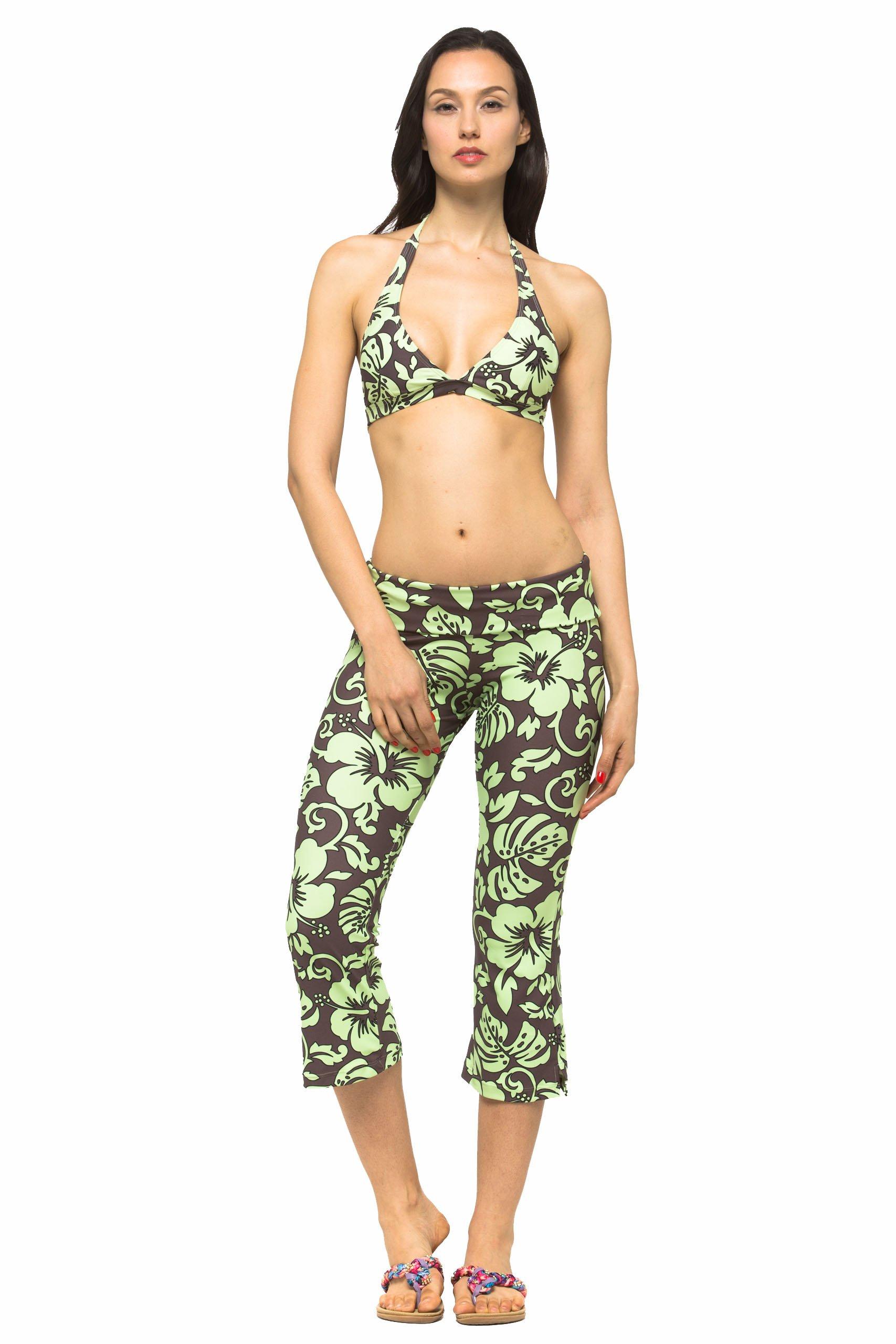 Private Island Women UV Swim Rash Guard Capri Bootcut Pants Yoga (XS, BwG) by Private Island