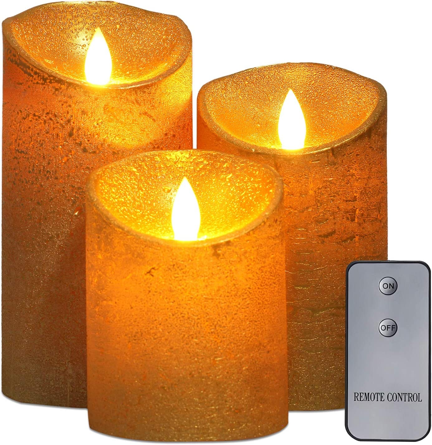 """Upgraded Flameless Candles with Remote, led Candles Set of 3 (4""""5""""6""""Pillar,Each 3""""Diameter) Real Wax Not Plastic Pillars for Home Christmas Decorations Indoor Wedding Birthday Party"""