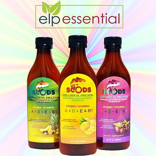 Amazon.com: Emulsion de Scods Naranja Cod Liver Oil Emulsion Orange 200ml Vitamin A + D + E & B1: Health & Personal Care