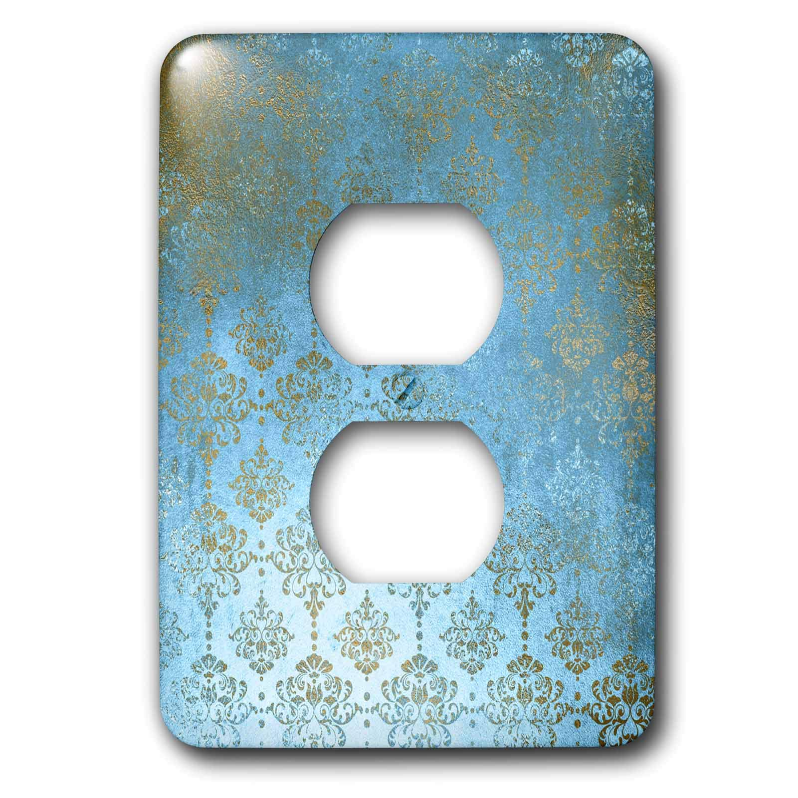 3dRose Uta Naumann Faux Glitter Pattern - Image of Sky Blue and Gold Metal Foil Vintage Grunge Luxury Damask Pattern - Light Switch Covers - 2 plug outlet cover (lsp_290169_6)