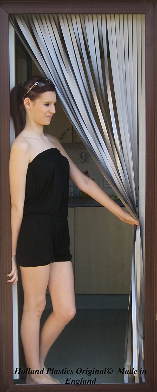 Holland Plastics Original Brand Tube Type Screen/Fly Blind/Door Curtain/Bug Blind. 'Silver'