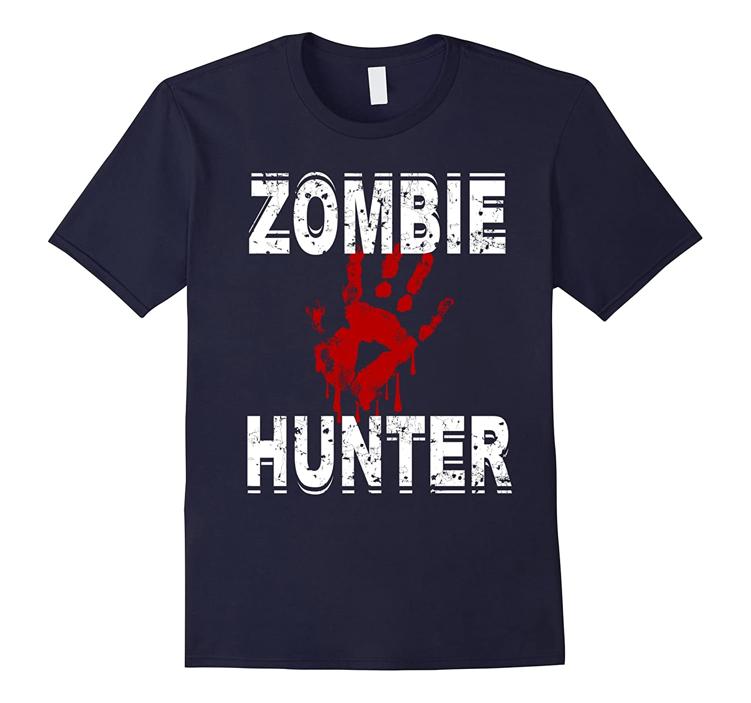 Zombie Hunter T Shirt Scary Halloween Costume-FL