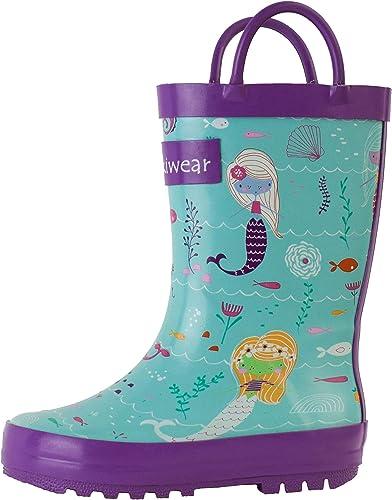 OAKI Girls Rubber Rain Boots Easy-on Handles