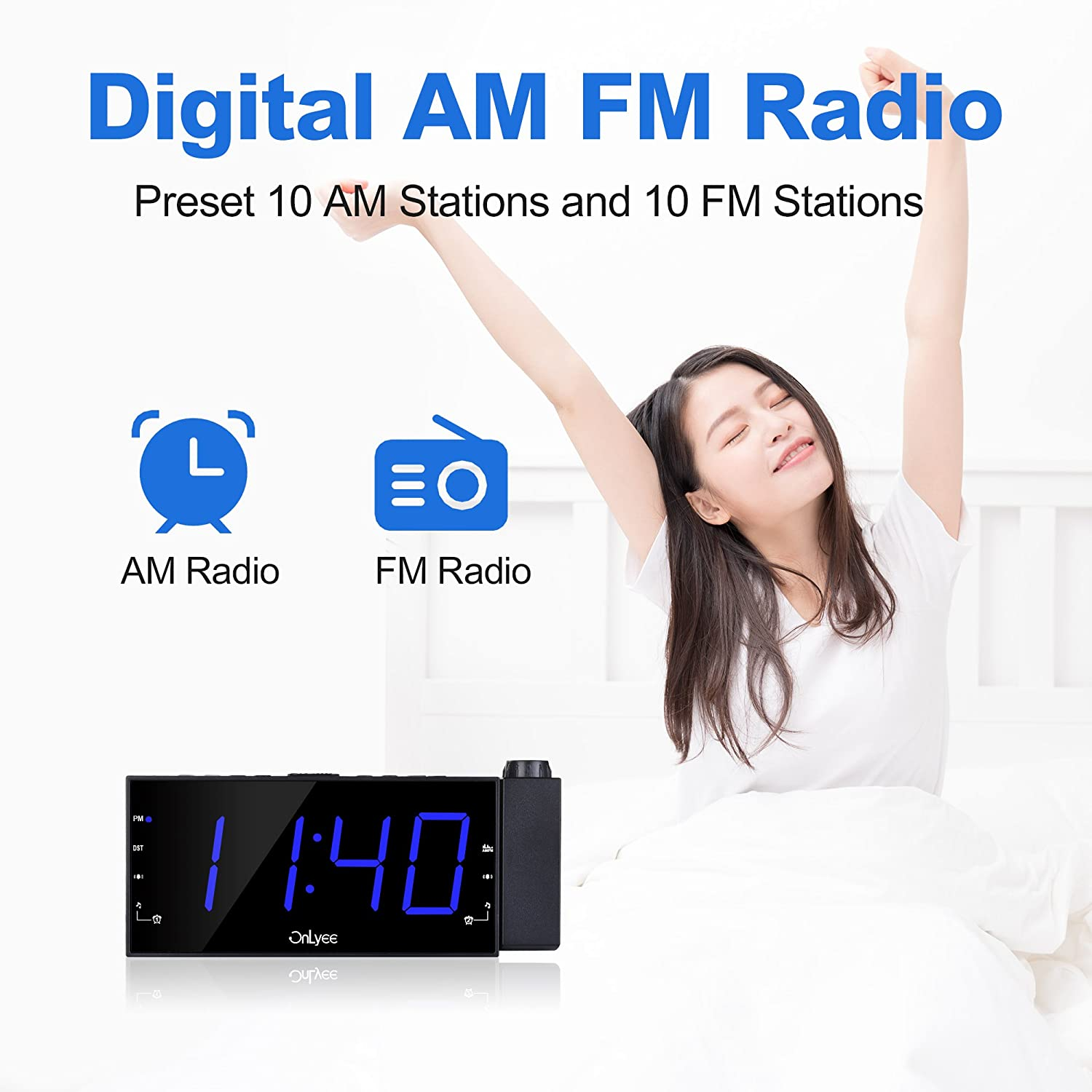 """Sleep Timer USB Charging 7/"""" LED Digital Ceiling Display AC Powered and Battery Backup for Bedroom Desk//Shelf Clock with Dimmer OnLyee Projection Alarm Clock with AM FM Radio 180/°Projector"""