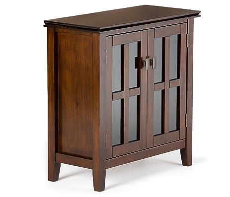 Amazon.com: Simpli Home Artisan Low Storage Cabinet, Medium Auburn ...