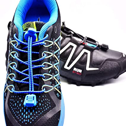 76f4762f67a746 Amazon.com  KP Outdoor No Tie Shoe Laces Toddlers - Kids   Adults -  Boots Shoes  Converse Sneakers Lock 2 Pairs Hiking Elastic Shoelaces - Navy  Blue