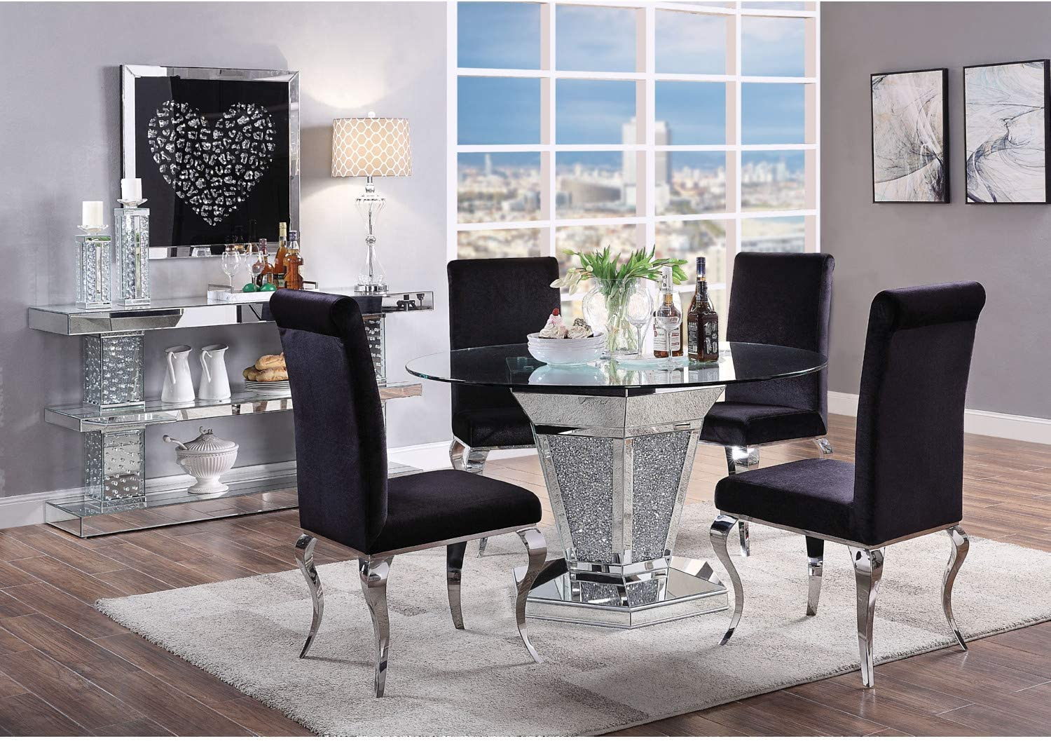 Acme Furniture Dining Table Mirrored Faux Diamonds And Clear Glass Tables