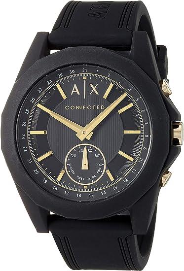 Armani Exchange Mens Hybrid Smartwatch, Black-Tone Stainless Steel, 44 mm