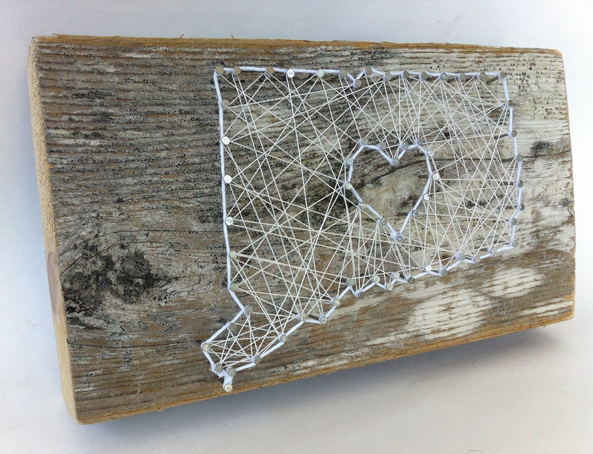 Connecticut love reclaimed wooden string art sign - A unique Wedding, Anniversary, Birthday, Valentine's Day, Christmas and house warming gift