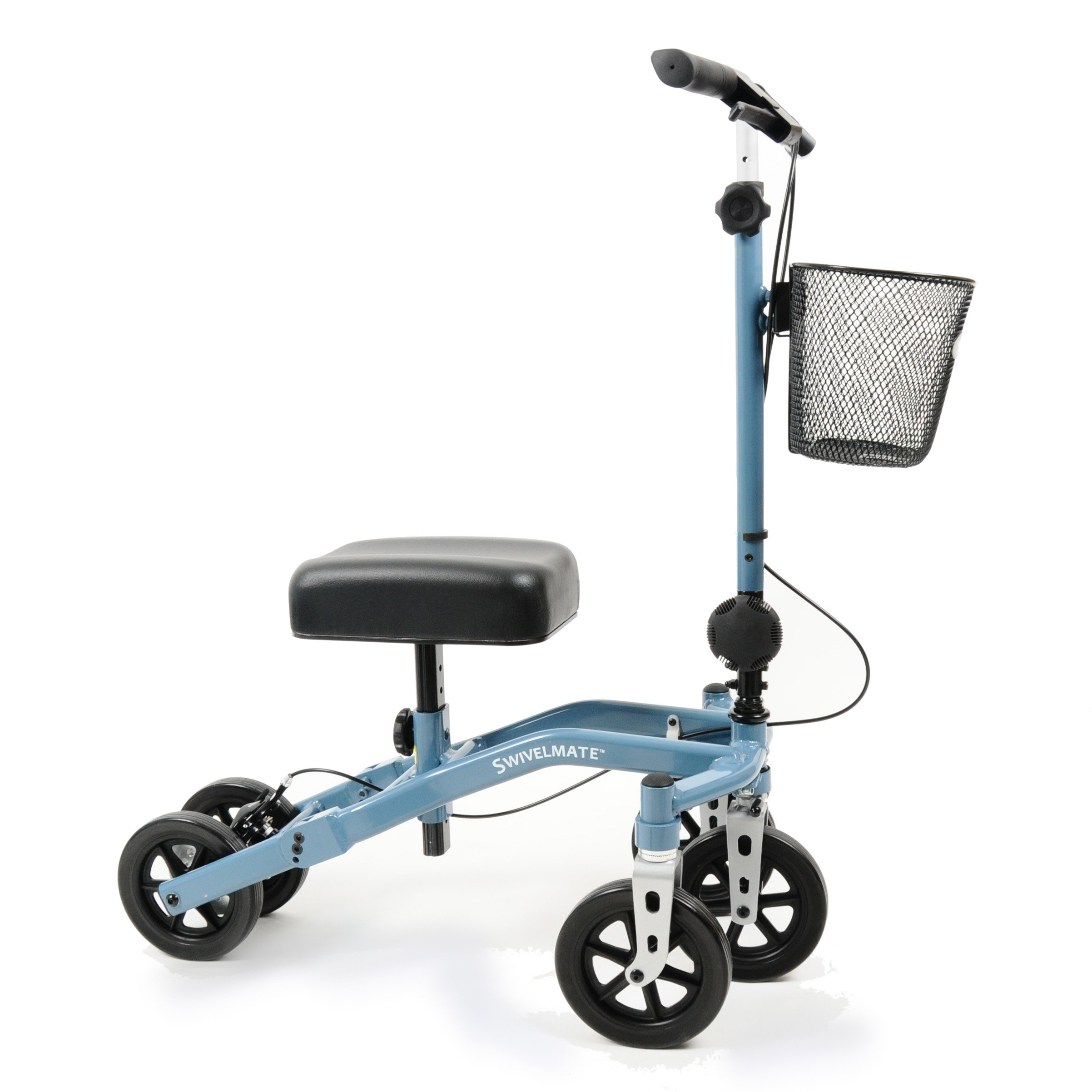 Swivelmate Knee Walker with Basket, Steerable 90 Degree Turning Radius, Premium Quality, Extra Thick Knee Pad, 5-Wheel Stable Design Knee Scooter Crutch Alternative, Foldable