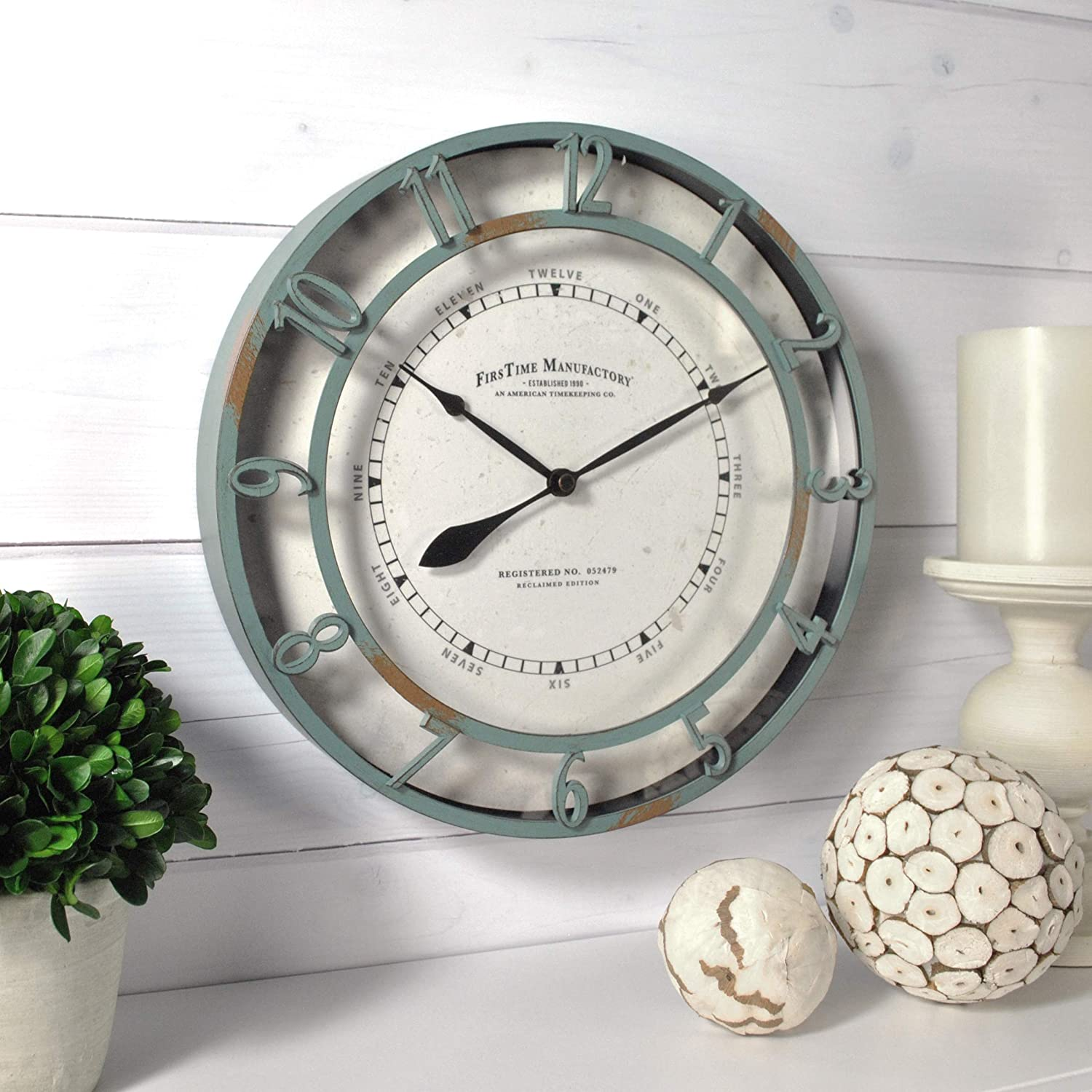 FirsTime & Co. Timeworn Aqua Wall Clock