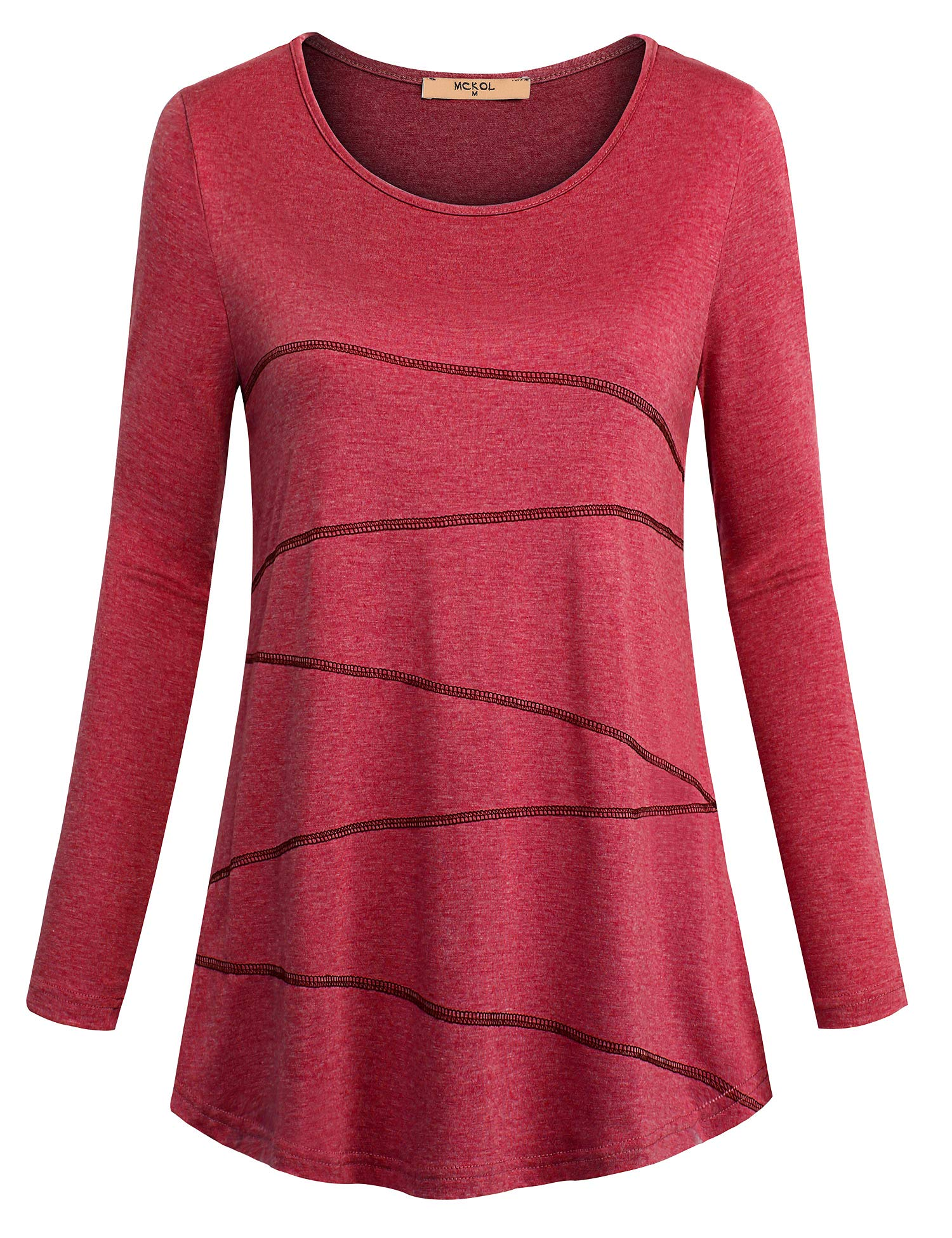 MCKOL Women Casual Shirts, Long Sleeve Shirts Chiffon Splicing Irregular Hem Comfy Tunic Tops(Wine Red,X-Large