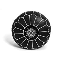 KING OF HANDMADE Premium Moroccan Leather Pouf Cover - Round & Large Ottoman Footstool Cover with Embroidery - Cover…