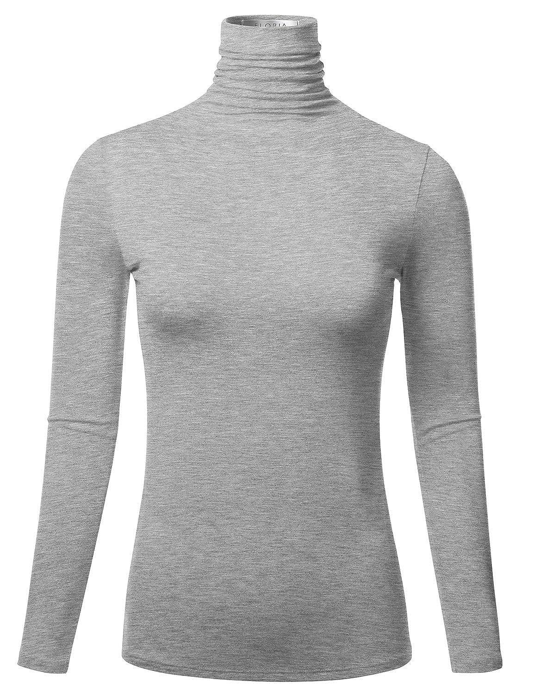 S-3XL FLORIA Womens Long Sleeve Lightweight Slim Turtleneck Top Pullover