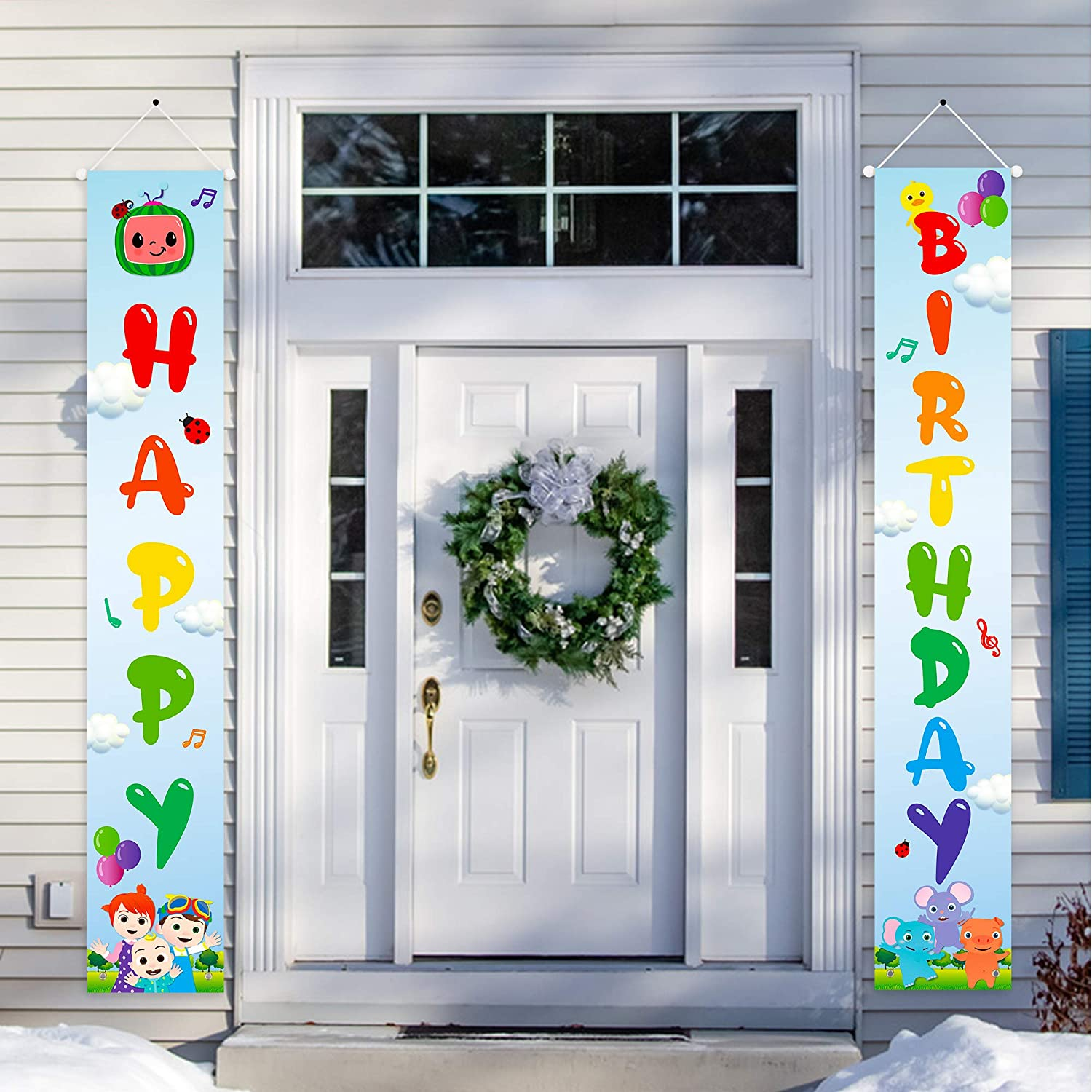 Haooryx JJ Melon Happy Birthday Porch Sign Theme Party Signs Banner Decoration, Indoor Outdoor Yard Hanging Welcome Sign Wall Decor Photo Booth Prop for Kids Birthday Party Baby Shower Favor Supplie