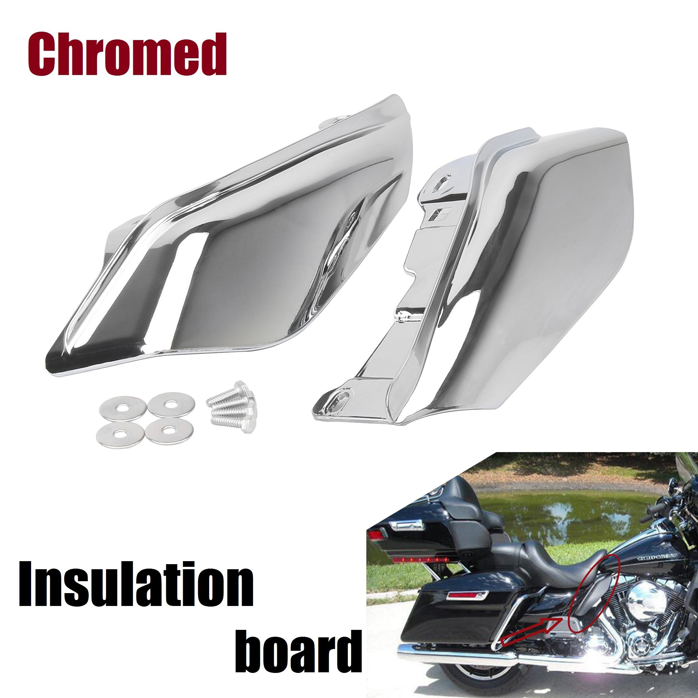 Motorcycle Chromed Mid-Frame harley deflector Air Deflector Touring Road King Electra Street Glide 09-Up
