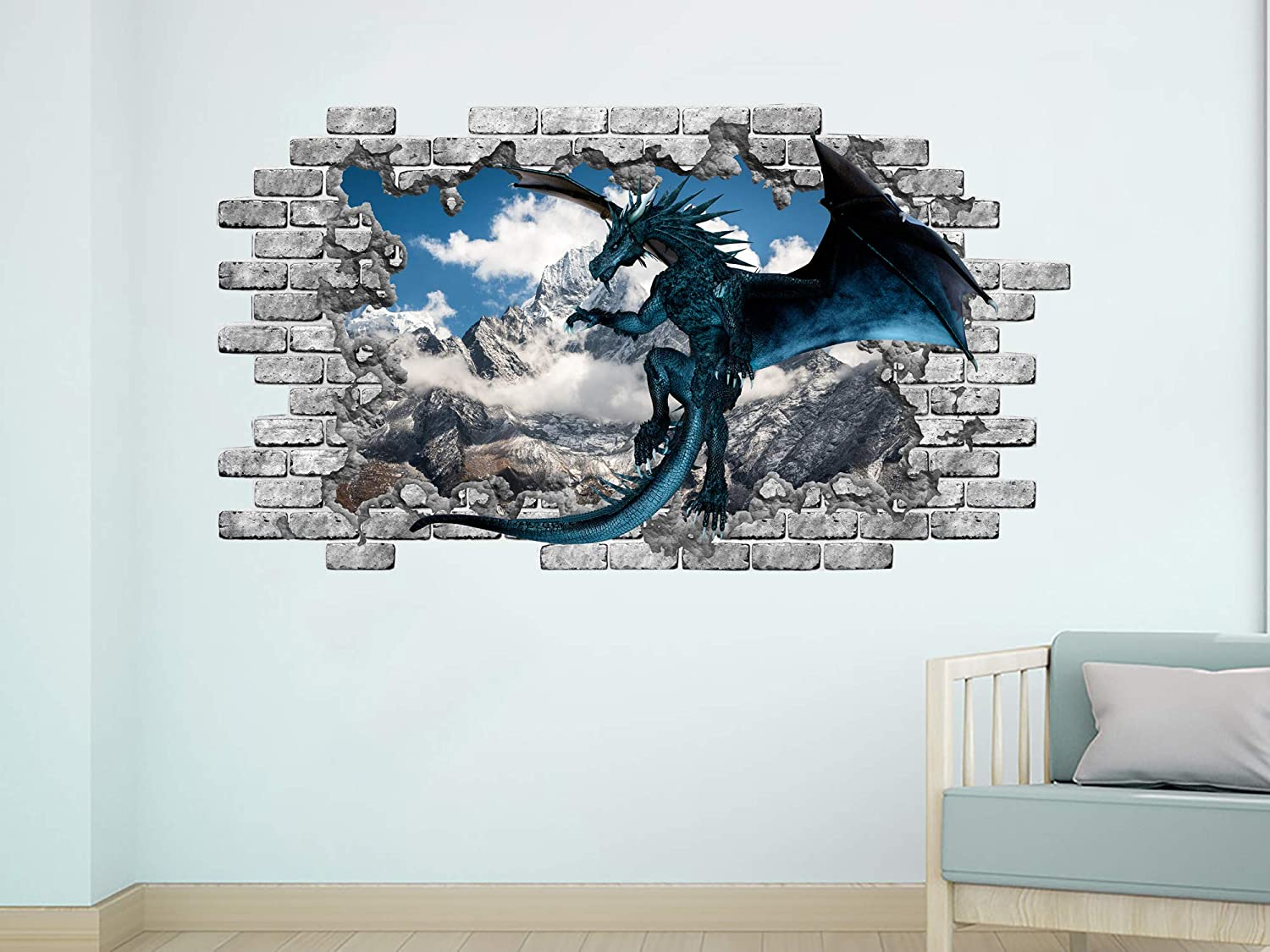 Peel and Stick Dragon Wall Mural Mountains Removable Vinyl Sticker Dragon Bedroom Decor NT23 Blue Dragon Wall Decal