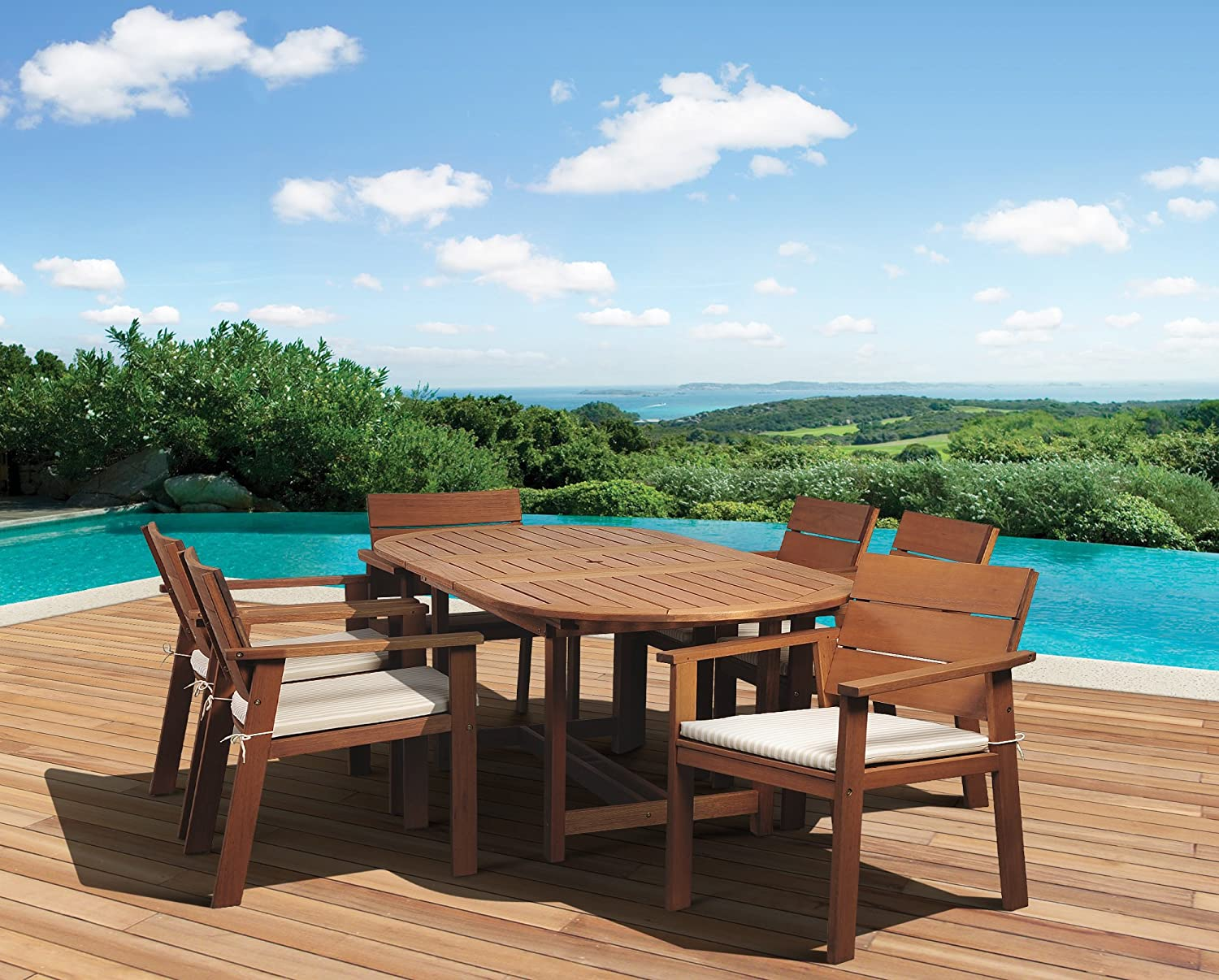 Amazon com   Amazonia 7 Piece Nelson Eucalyptus Oval Extendable Dining Set    Outdoor And Patio Furniture Sets   Patio  Lawn   GardenAmazon com   Amazonia 7 Piece Nelson Eucalyptus Oval Extendable  . Extendable Outdoor Dining Sets. Home Design Ideas