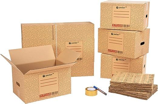 packer PRO Pack Mudanza Eco con 5 Cajas Carton Mudanza 600x400x400mm, 10 Cajas Carton Mudanza 430x300x250mm, Cinta Adhesiva, 25 Mallas de Protección para Embalaje, Rotulador Permanente: Amazon.es: Oficina y papelería