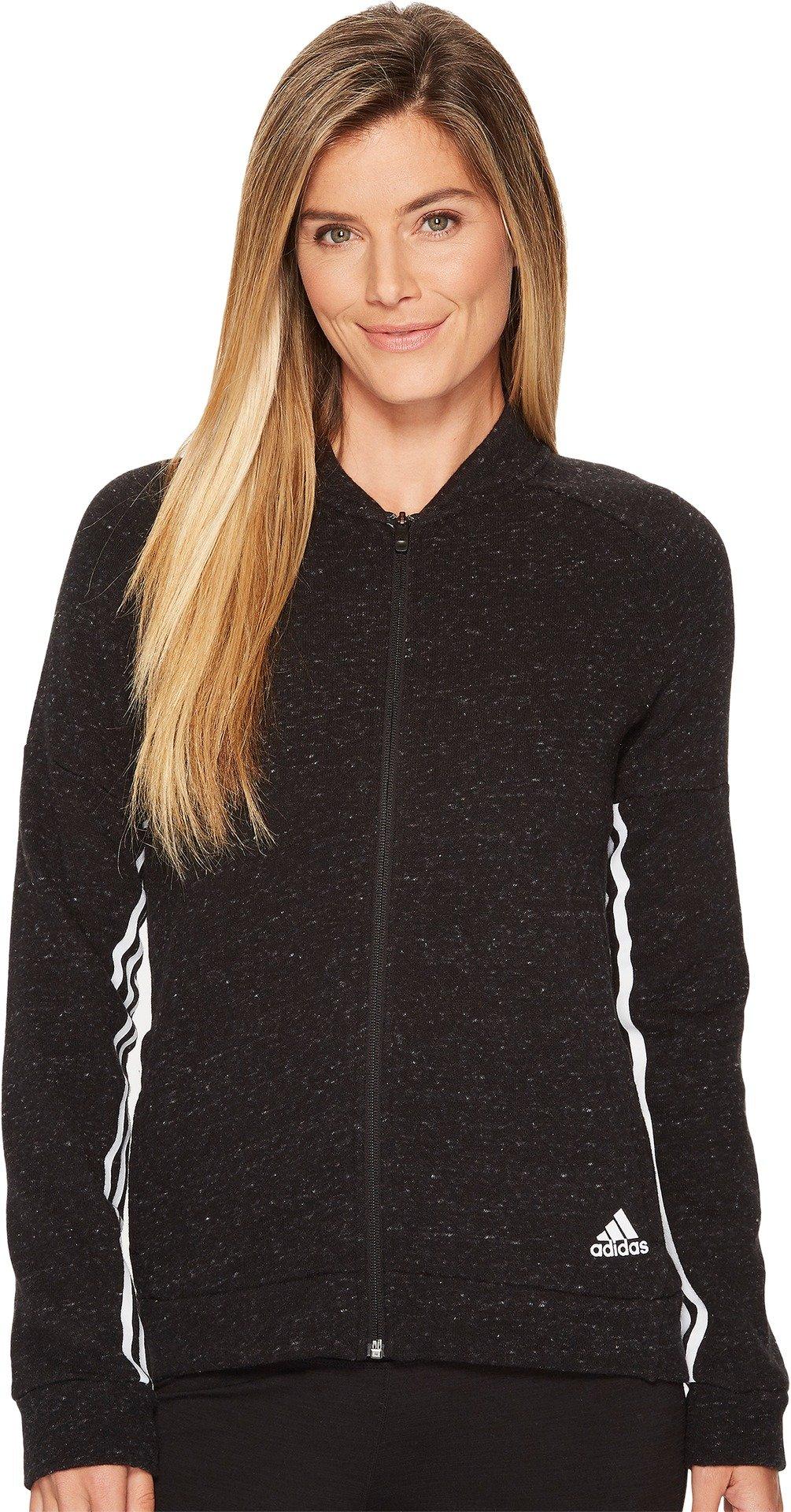 adidas Women's Athletics Sport-2-Street Track Jacket, Black Melange/White, Large