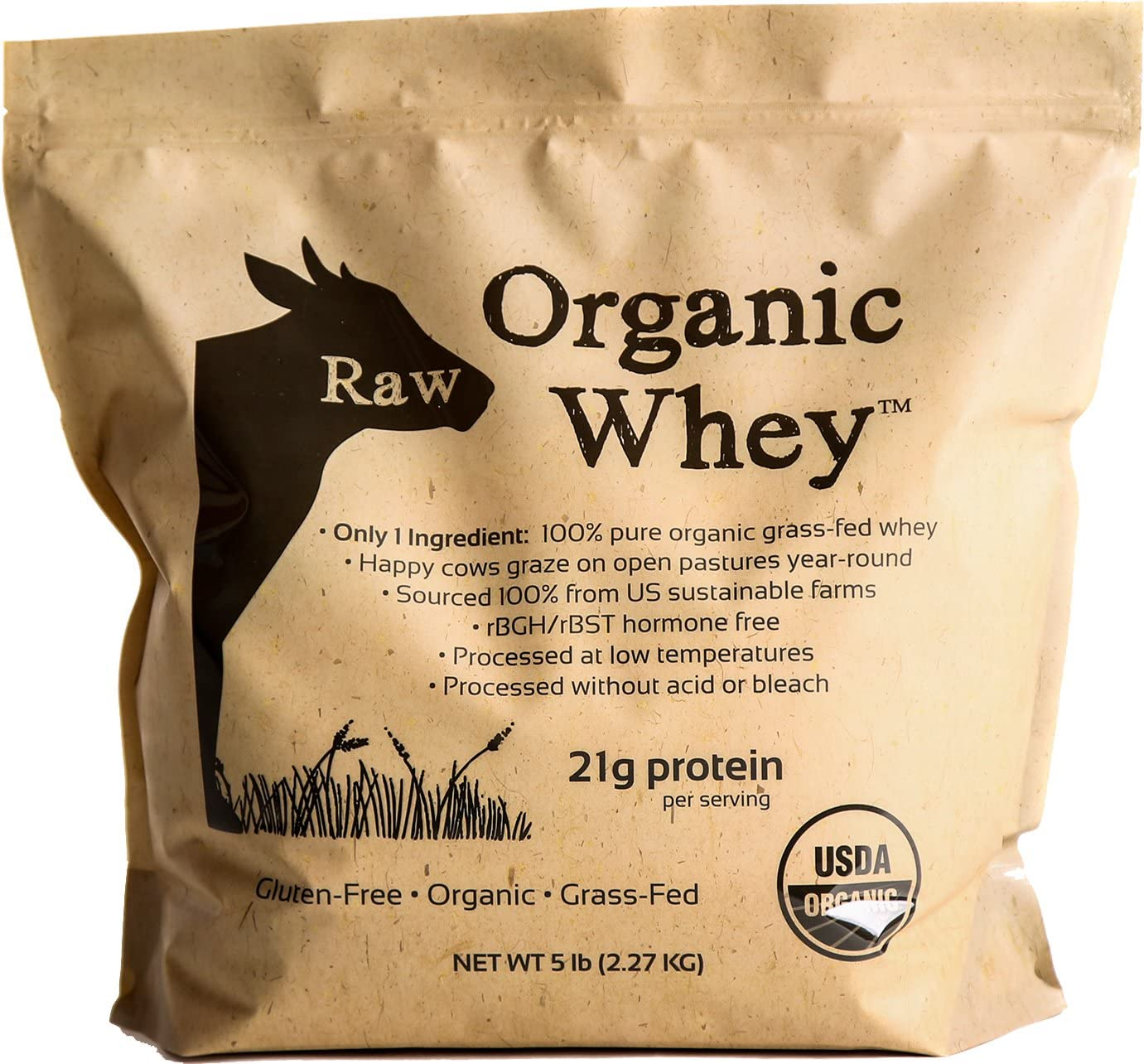 Raw Organic Whey 5LB – USDA Certified Organic Whey Protein Powder, Happy Healthy Cows, COLD PROCESSED Undenatured 100 Grass Fed NON-GMO rBGH Free Gluten Free, Unflavored, Unsweetened 5 LB BULK
