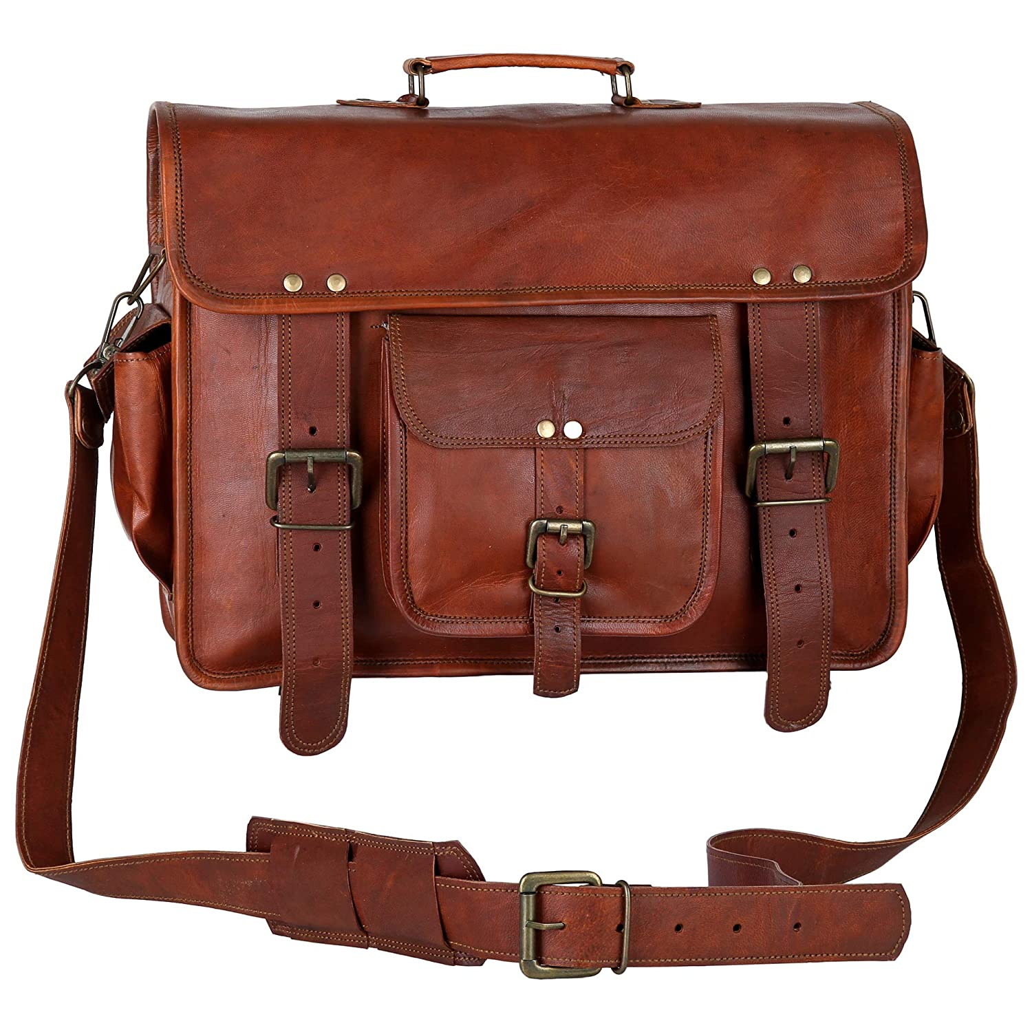 Dark Brown CPLEATHER Finest Quality Leather Messenger Bag for Men and Women